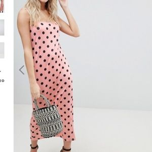 ASOS Dresses - Pink polka dot maxi dress